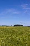 Field, wind engine and a blue sky. The picture shows a landscape consisting of a field, a wind engine and a blue sky Stock Image