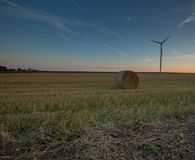 Field and windmill at sunset Royalty Free Stock Images
