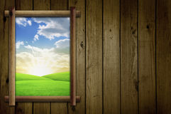 Field Through Window. Field View Through Open Window Stock Photo