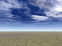 Field with Wispy Clouds. Flat plains and blue sky with wispy clouds Stock Photography