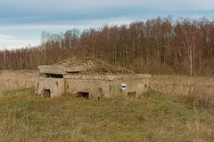 Free Field With Old Bunker And Birch Forest On Pakri Peninsula, Paldiski, Estonia Stock Photography - 168647342