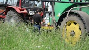 Field work machinery stock video footage