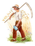 Field Worker. To harvest, watercolor painting Stock Photography