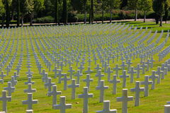 Field of WWII American Crosses, Florence Cemetery, Italy. Field of crosses in the Florence American Cemetery and Memorial in Italy mark the graves of 4,400 brave stock image
