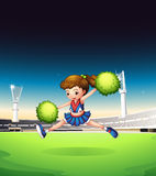 A field with a young girl performing. Illustration of a field with a young girl performing Stock Photo