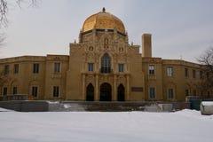 Fieldhouse im Schnee Stockbild