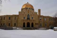 Fieldhouse nella neve Immagine Stock