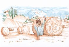 fields Тоскана эскиз иллюстрация вектора