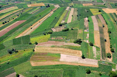Fields from aeroplane. Country fields - view from aeroplane Royalty Free Stock Photos