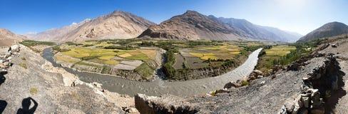 Fields aroun Panj river and pamir mountains Afghanistan stock image