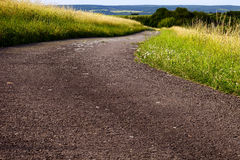 Fields asphalt road Stock Photo