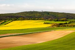 Fields in Austria landscape in spring. Austrian Fields in spring landscape Royalty Free Stock Image