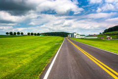 Fields and barn along a country road in Carroll County, Maryland Stock Photo