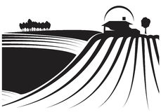Fields and barn in black and white. Illustration about farmlands with a building in the background. May be a winery and its vineyards. Illustration /sketch Stock Images