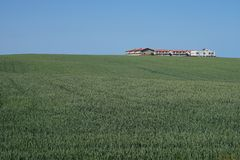 Fields and buildings Royalty Free Stock Image