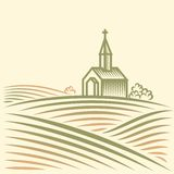 Fields and church. Rural landscape with fields and church Stock Images