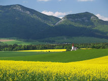 Fields and church of Saint Ladislav Stock Photos