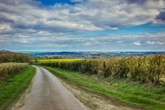 Lincolnshire Wolds. Fields and clouds in the Lincolnshire wolds Stock Photo