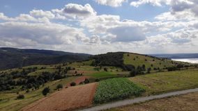 Fields and corn on beautiful day stock footage
