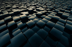 Fields cubic abstract. Fields cubic reflective shiny abstract 3D rendering Stock Photography