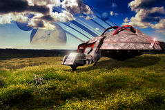 Fields on a far planet. A big spaceship landed on a far planet. Two astronauts came down from the vehicle, and observe the existing life on this planet Stock Images