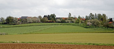 Fields and farms panorama stock photos