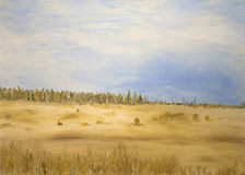 Fields and forest. Oilpainting of forest and golden fields with blue sky Royalty Free Stock Photos