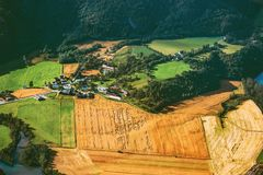 Fields and forest aerial view rural Landscape. In Norway nature ecology concept geometric Stock Image