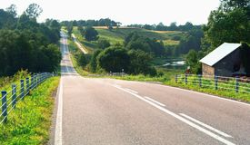 Fields, forests, from above, road, distant, ascend, descend Stock Photo