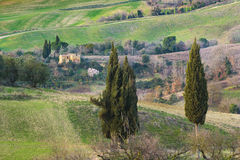 Fields and forests in the spring of Tuscany. Stock Photo