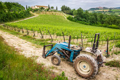 Fields full of vines and blue tractor in Tuscany Stock Images