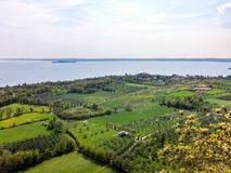 Fields and gardens on the shores of lake Garda stock images