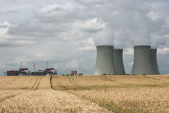 Fields grain-nuclear station Stock Photos