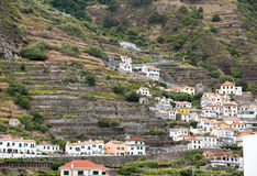 Fields and houses along west coast near Porto Moniz on Madeira Island. stock photography