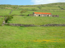 Fields of ireland - landscape. A rustic stone house graces emerald irish fields stock images