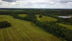 Fields at the lake Polonskoe. Tractor. Polonsky Belor. Palanskaia is a lake on the territory of the Voronovsky village council of the Vitebsk district in the stock video footage