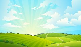 Free Fields Landscape. Scenic Green Hills Nature Sky Horizon Meadow Grass Field Rural Land Agriculture Grassland Stock Photo - 138456400