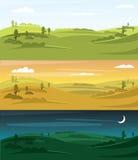 Fields landscape vector illustration. Landscape background. Night, sunset, morning Stock Images