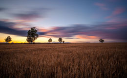 Fields. Long exposure of sunset over Moravian Karst area Stock Images