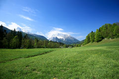 Fields And Meadows. Beautiful Landscape With Fields And Meadows in Germany Alps royalty free stock image