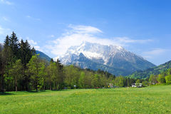 Fields and meadows. Beautiful Landscape With Fields And Meadows in the alps.Bavarian .Germany royalty free stock photography