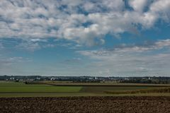 Fields and meadows. Green fields and meadows and the wide land Stock Photography