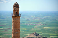 Fields and minaret in mardin Royalty Free Stock Photo