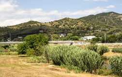 Fields of Montcada. On the outside of Barcelona, you see  in the background are the mountains on a sunny day Royalty Free Stock Photo