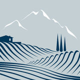 Fields and mountains. Stylized illustration of an agricultural scenerey Royalty Free Stock Image