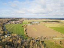 Fields near Lugovaya Lobnia, Moscow region. View from above. Fields near Lugovaya Lobnia, Moscow region. Aerial view landscape Stock Photography