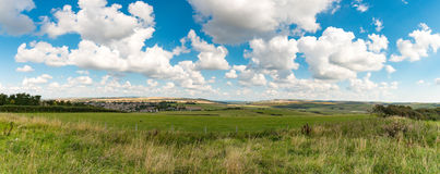 Fields near Seaford. Panoramic HDR view of Seaford, Sussex, U.K. and the fields surrounding it. Next to the seven sisters natural park royalty free stock image