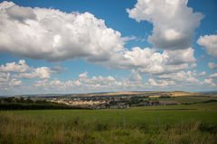 Fields near Seaford. Panoramic HDR view of Seaford, Sussex, U.K. and the fields surrounding it. Next to the seven sisters natural park Royalty Free Stock Photo