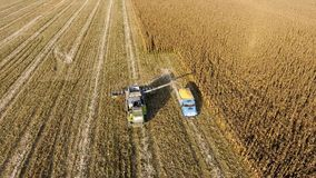 Combine harvester pours corn grain into the truck body. Harveste. Fields next to Krasnodar, Russia - September 15, 2017: Combine harvester pours corn grain into Royalty Free Stock Image