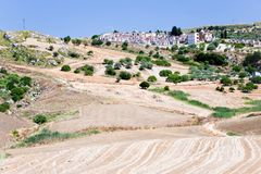 Fields and old catholic cemetery in Sicily Royalty Free Stock Photo